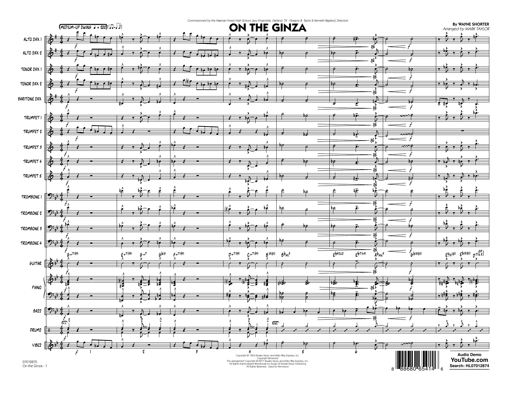 On The Ginza (COMPLETE) sheet music for jazz band by Mark Taylor and Wayne Shorter. Score Image Preview.