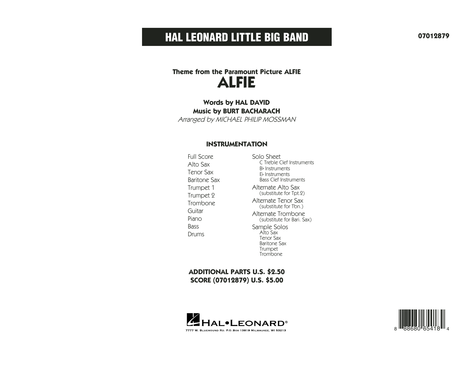 Alfie (COMPLETE) sheet music for jazz band by Michael Philip Mossman, Burt Bacharach, Cher, Dionne Warwick, Hal David, Sonny Rollins and Stevie Wonder. Score Image Preview.