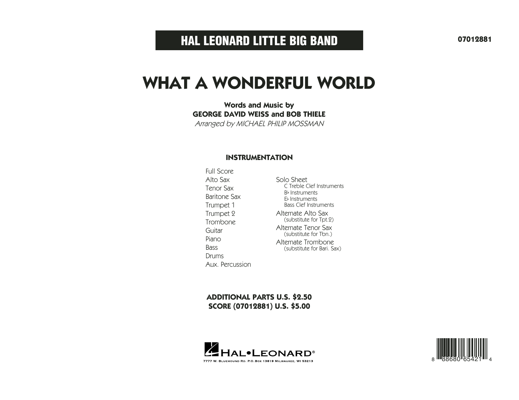 What A Wonderful World Dl - Full Score Sheet Music