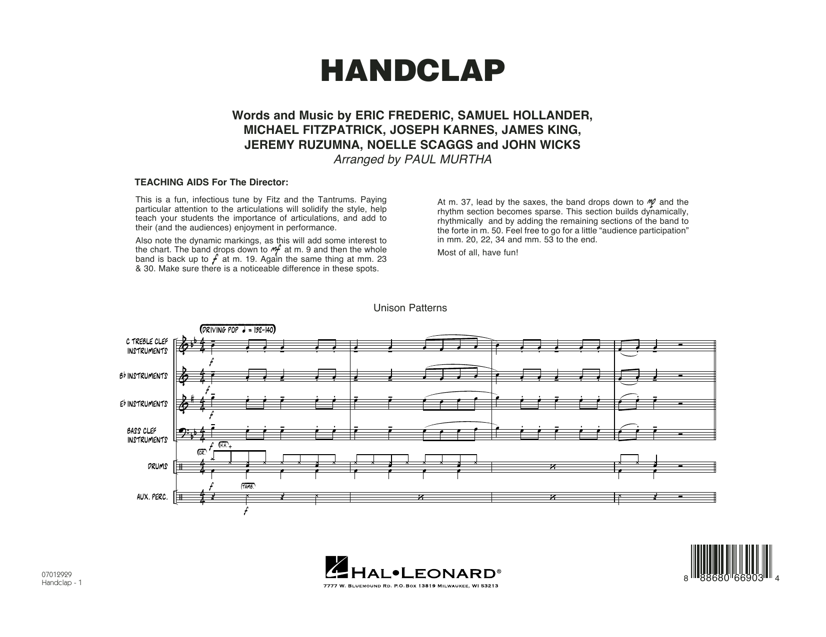 HandClap (COMPLETE) sheet music for jazz band by Paul Murtha, Eric Frederic, Jeremy Ruzumna, Michael Fitzpatrick, Noelle Scaggs and Sam Hollander. Score Image Preview.