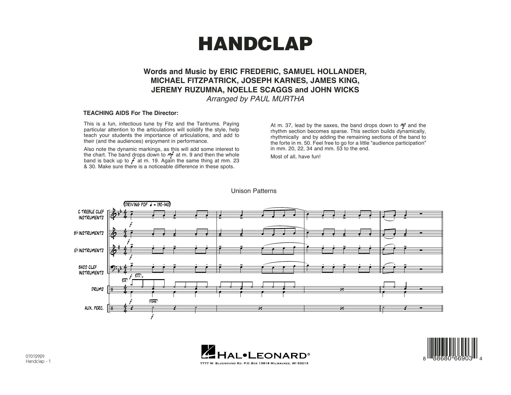 HandClap - Conductor Score (Full Score) Sheet Music
