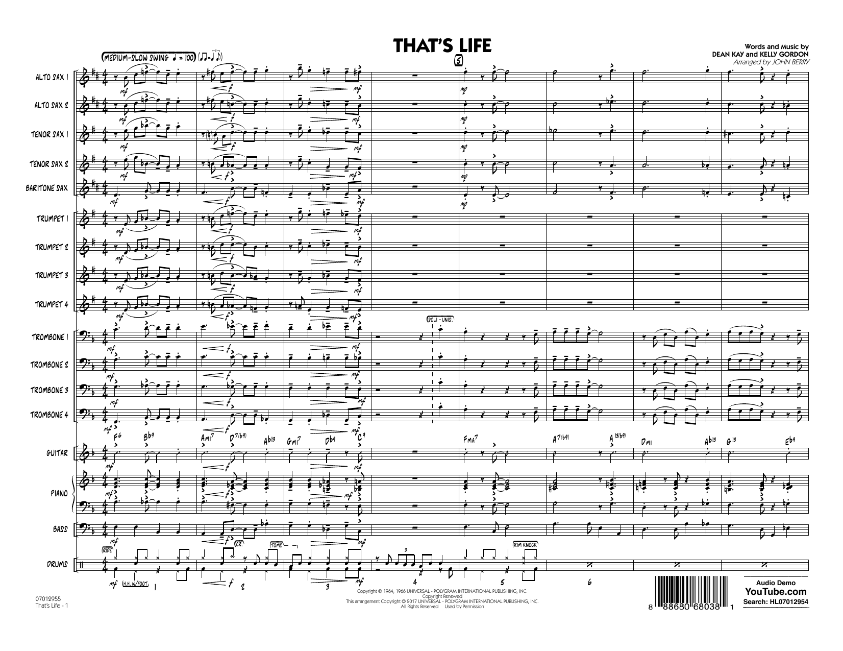 That's Life (COMPLETE) sheet music for jazz band by John Berry and Frank Sinatra. Score Image Preview.