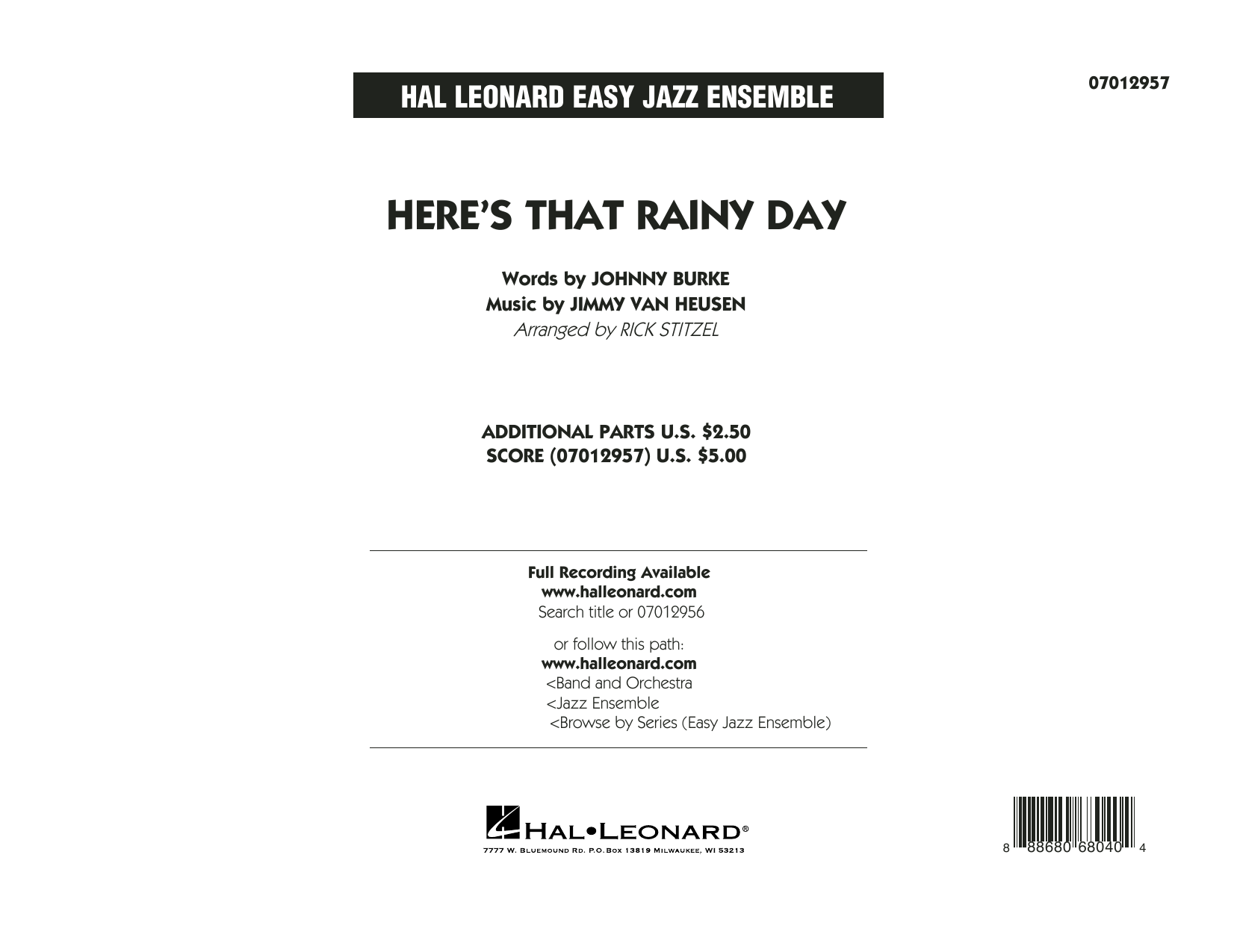 Here's That Rainy Day - Conductor Score (Full Score) Sheet Music