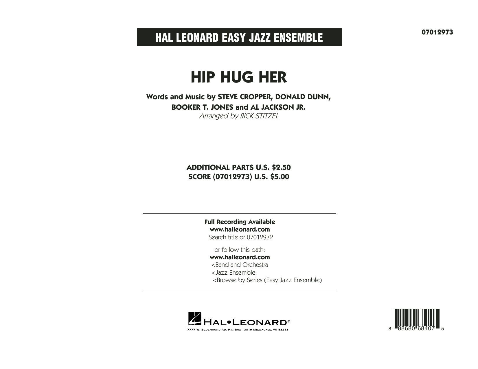Hip Hug Her (COMPLETE) sheet music for jazz band by Rick Stitzel, Booker T. Jones and Steve Cropper. Score Image Preview.