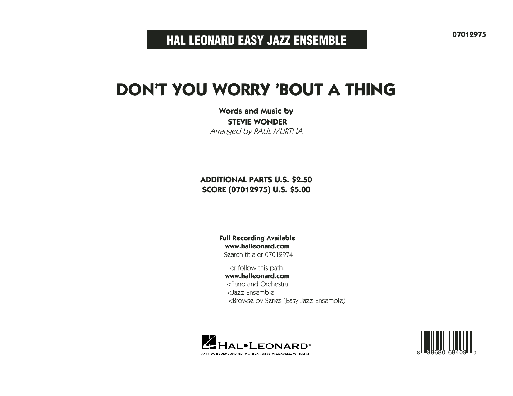 Don't You Worry 'Bout a Thing - Conductor Score (Full Score) Sheet Music