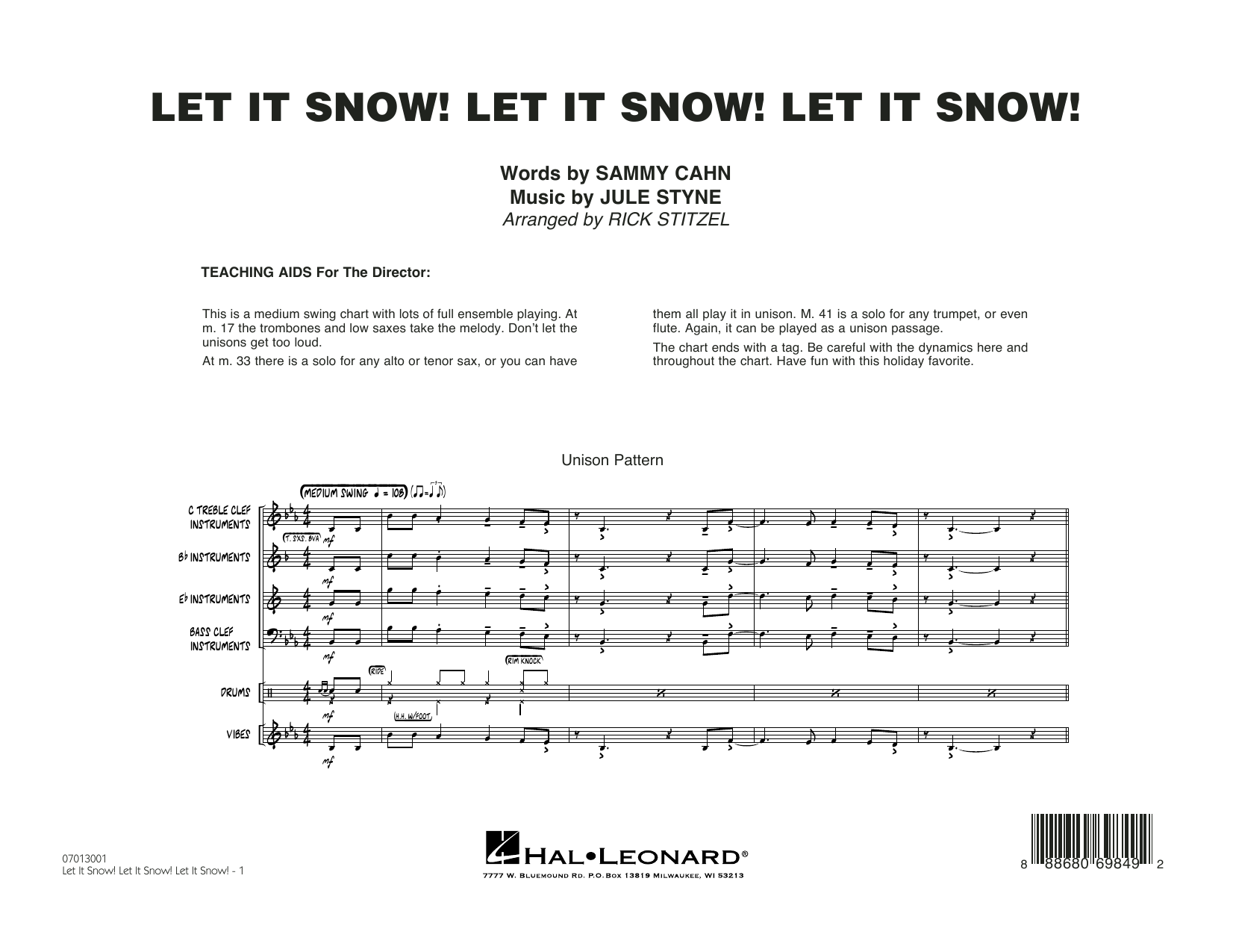 Let It Snow! Let It Snow! Let It Snow! (COMPLETE) sheet music for jazz band by Rick Stitzel, Jule Styne and Sammy Cahn. Score Image Preview.