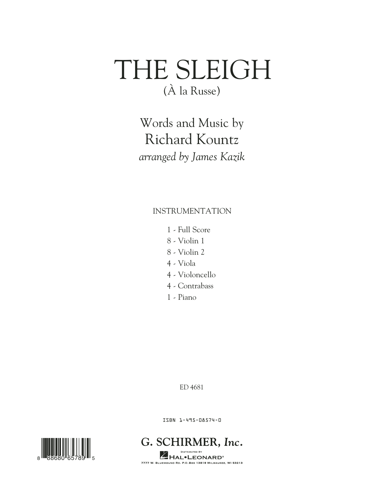 The Sleigh (A� La Russe) (COMPLETE) sheet music for orchestra by James Kazik and Richard Kountz. Score Image Preview.