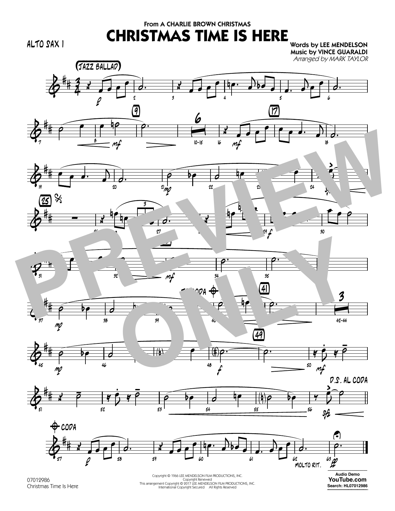 Christmas Time Is Here - Alto Sax 1 Sheet Music