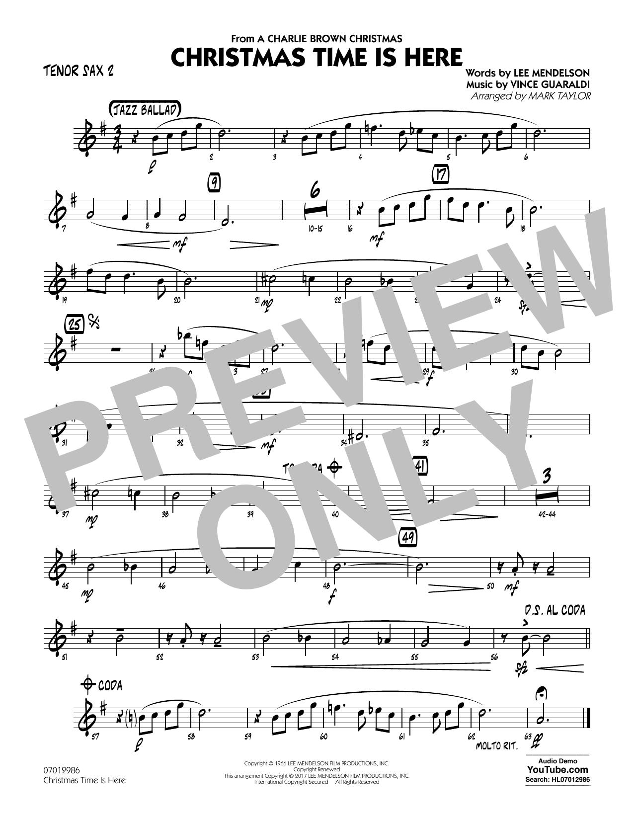 Christmas Time Is Here - Tenor Sax 2 Sheet Music