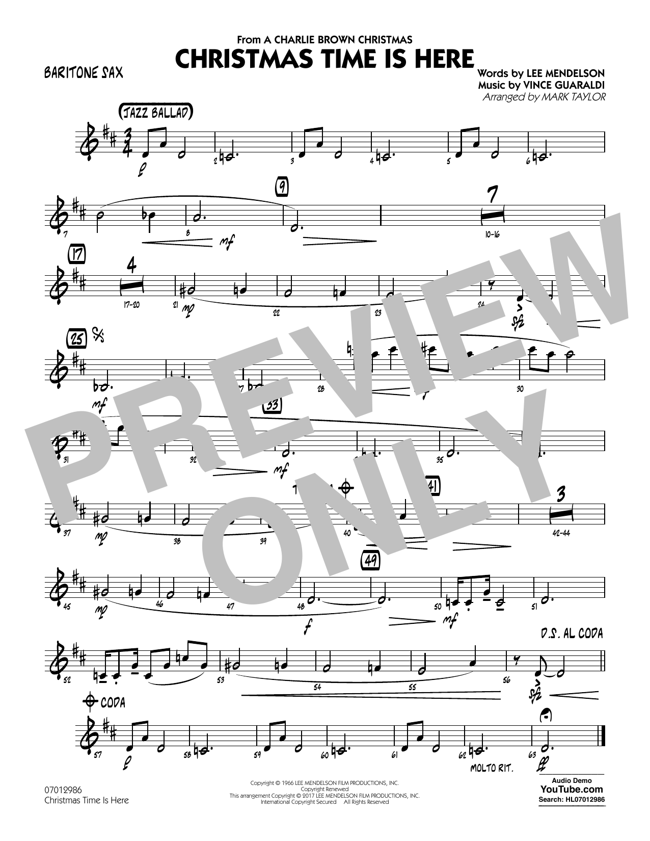 Christmas Time Is Here - Baritone Sax Partition Digitale