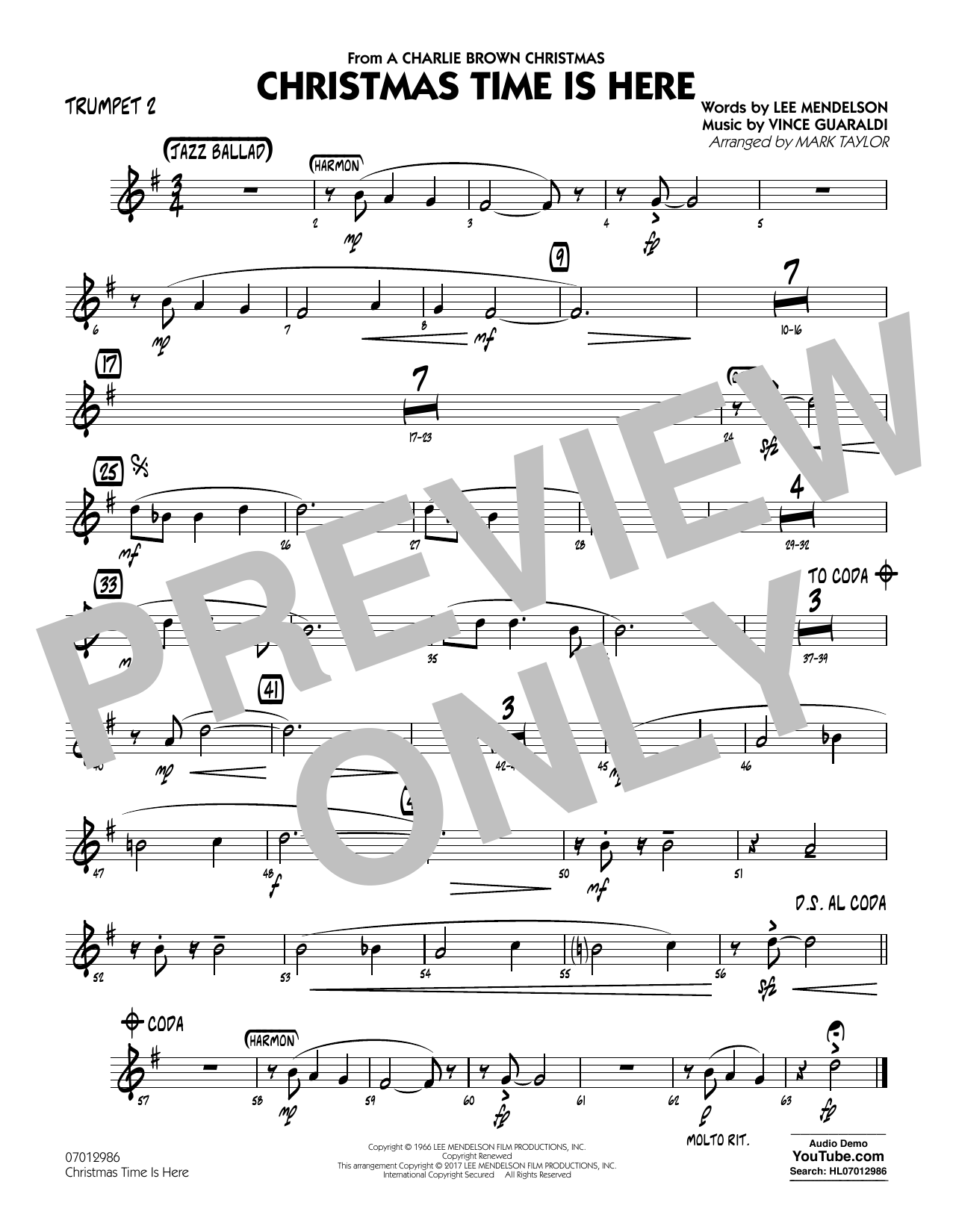 Christmas Time Is Here - Trumpet 2 Sheet Music