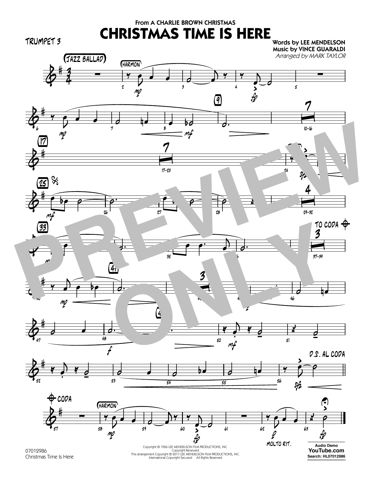 Christmas Time Is Here - Trumpet 3 Sheet Music