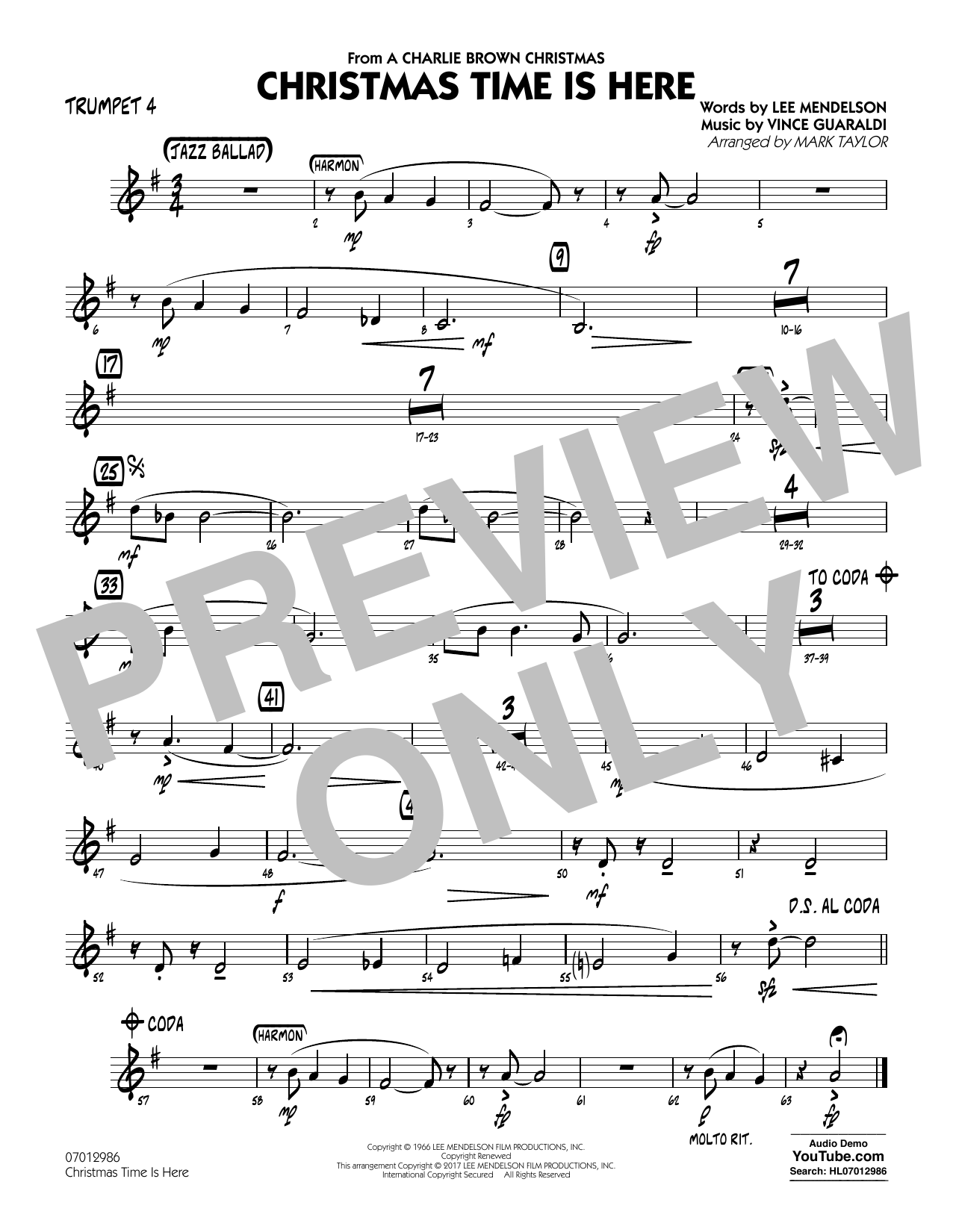 Christmas Time Is Here - Trumpet 4 Sheet Music
