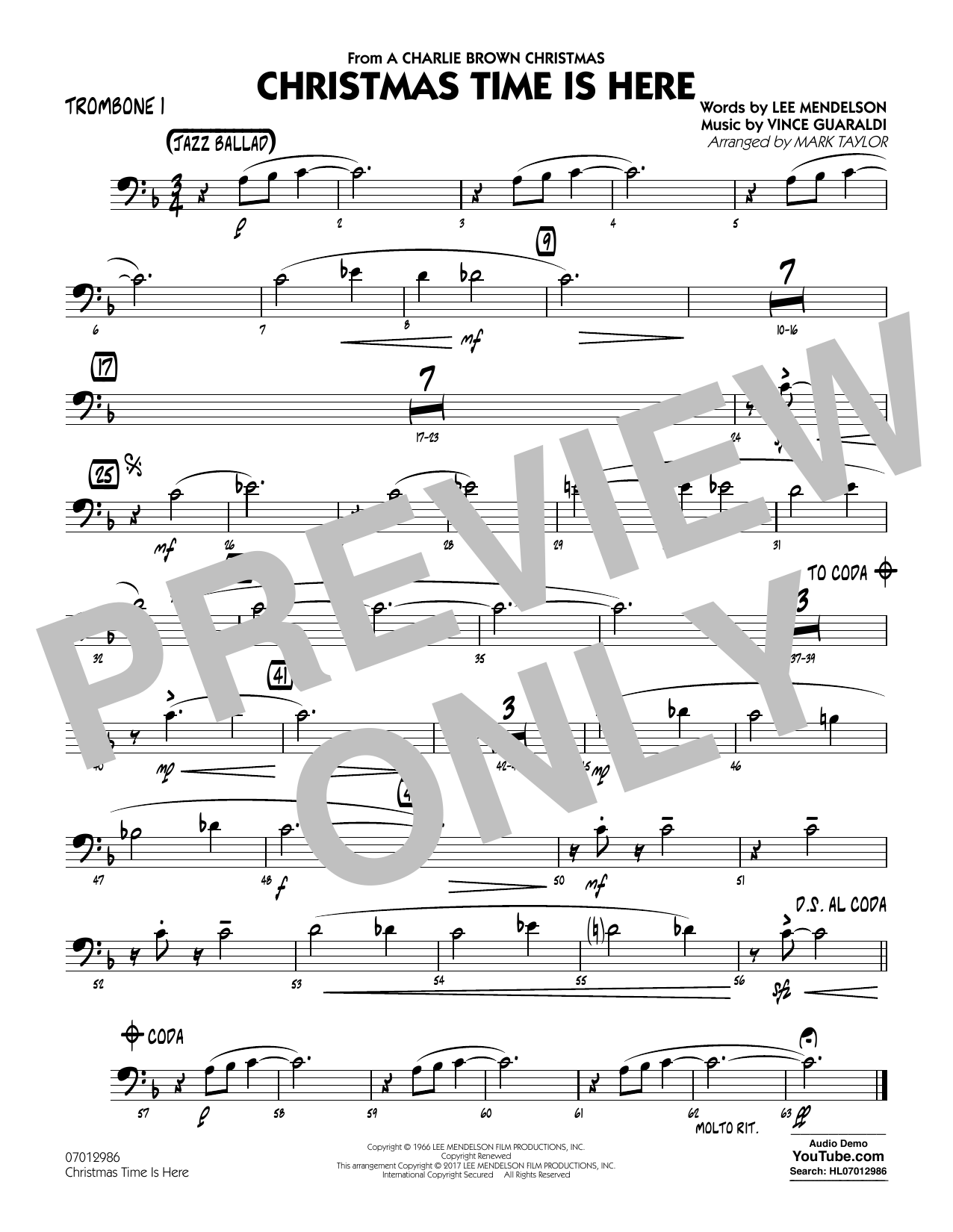 Christmas Time Is Here - Trombone 1 Sheet Music