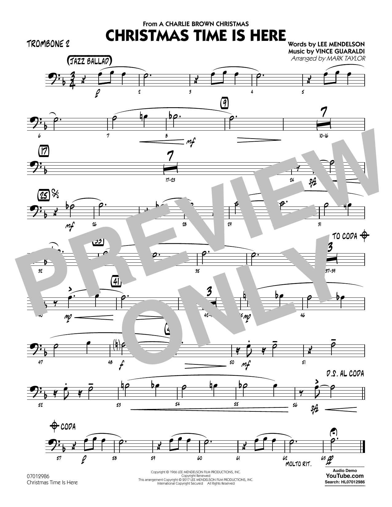 Christmas Time Is Here - Trombone 2 Sheet Music