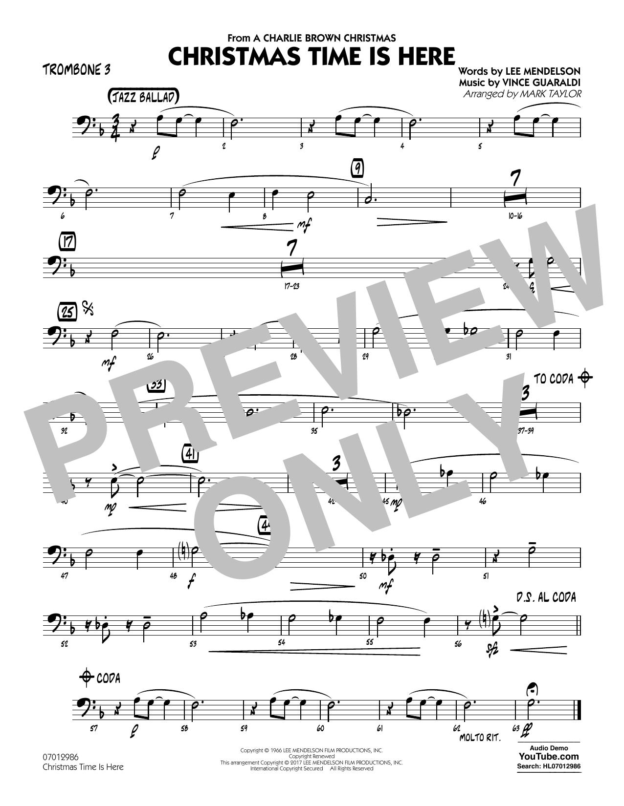 Christmas Time Is Here - Trombone 3 Sheet Music