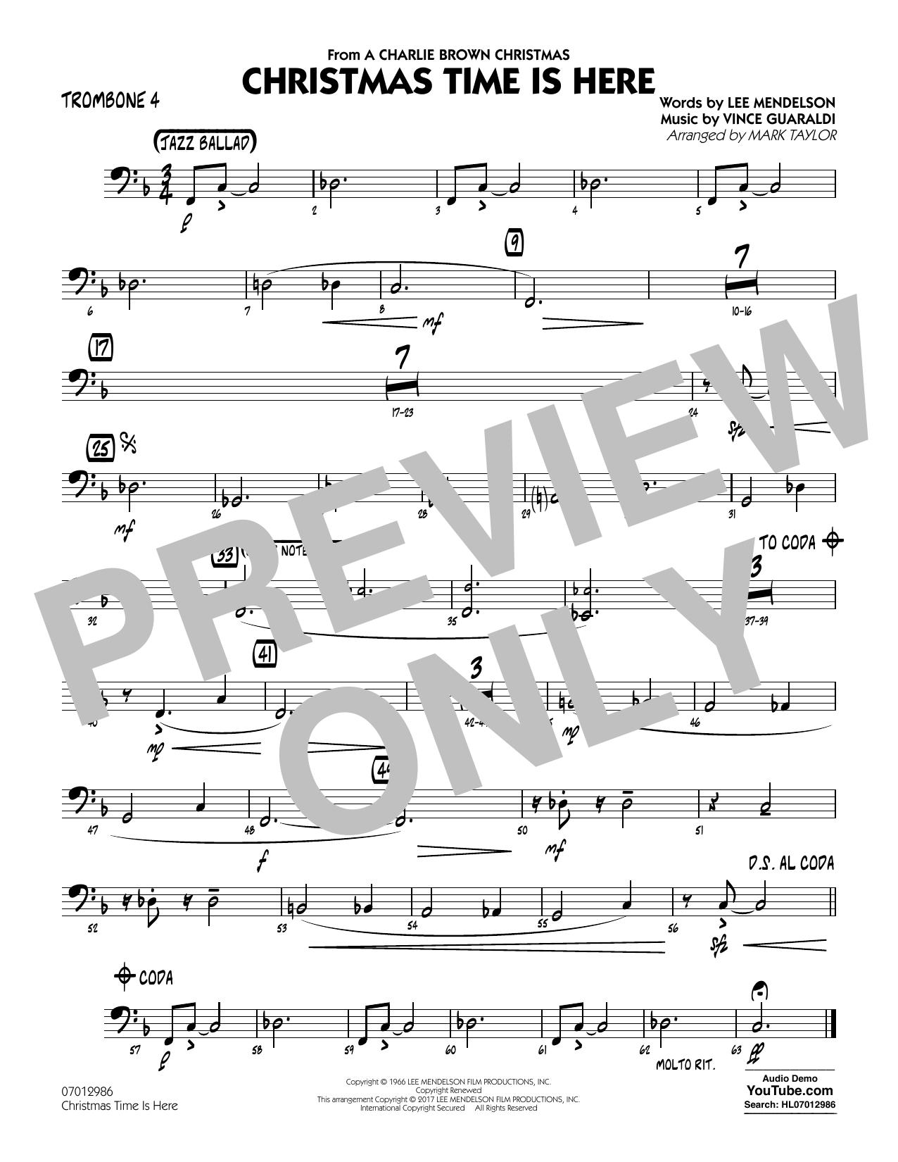 Christmas Time Is Here - Trombone 4 Partition Digitale