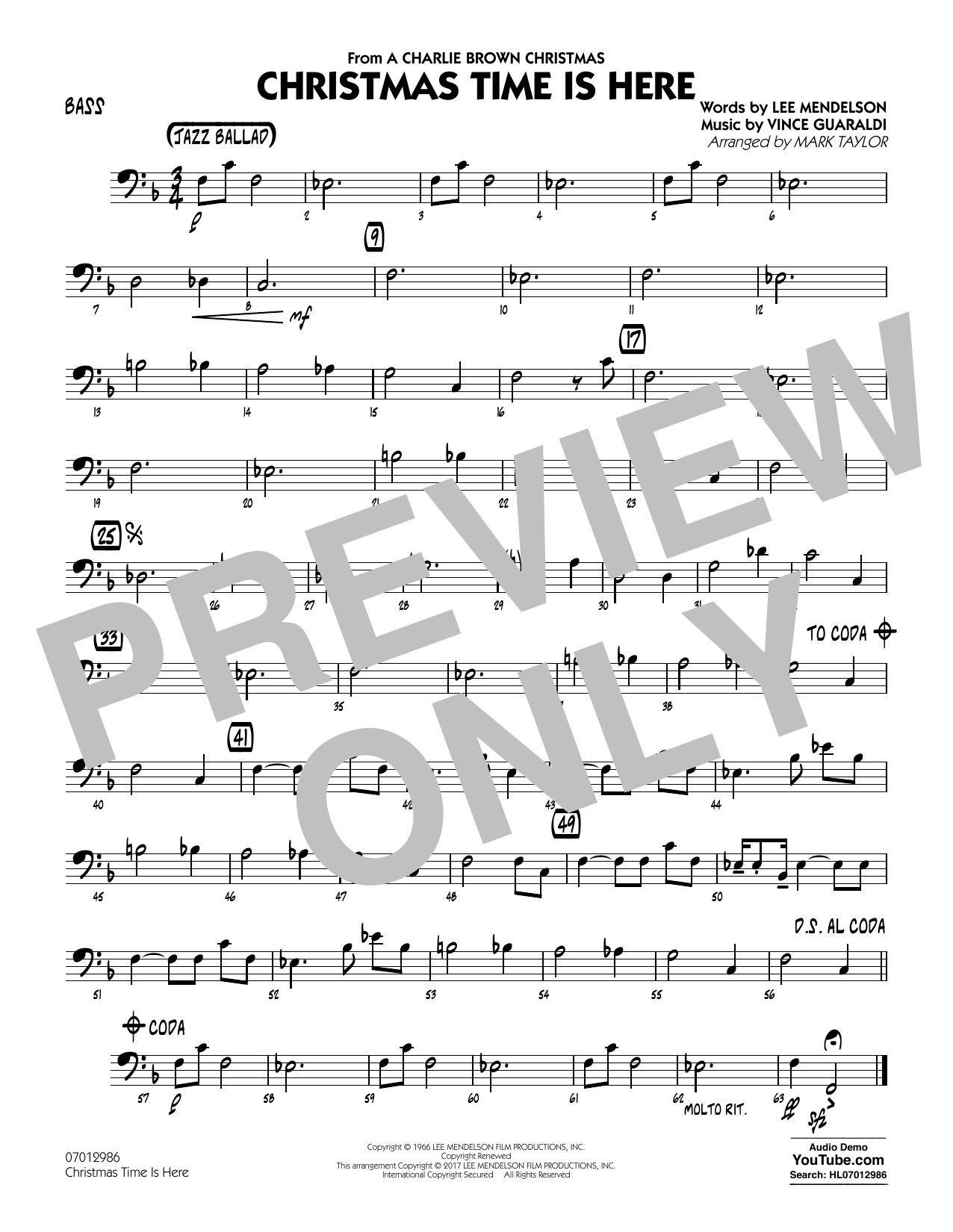 Christmas Time Is Here - Bass Sheet Music