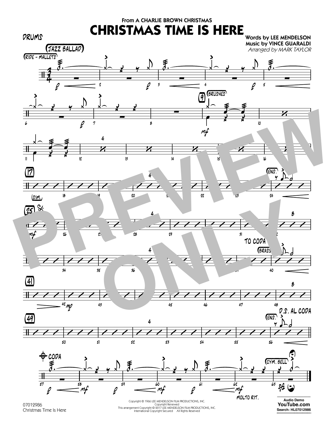 Christmas Time Is Here - Drums Sheet Music
