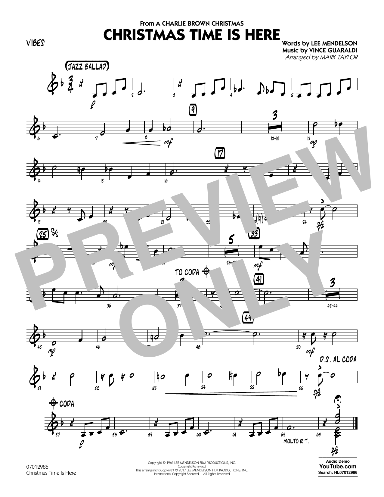Christmas Time Is Here - Vibes Sheet Music