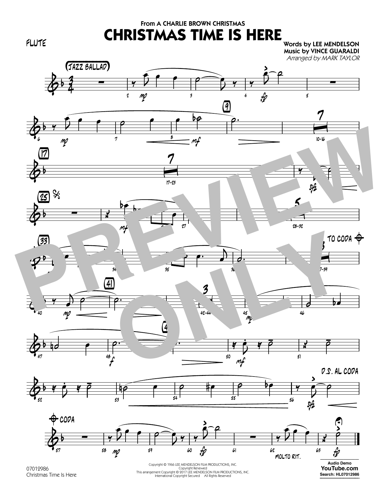 Christmas Time Is Here - Flute Sheet Music