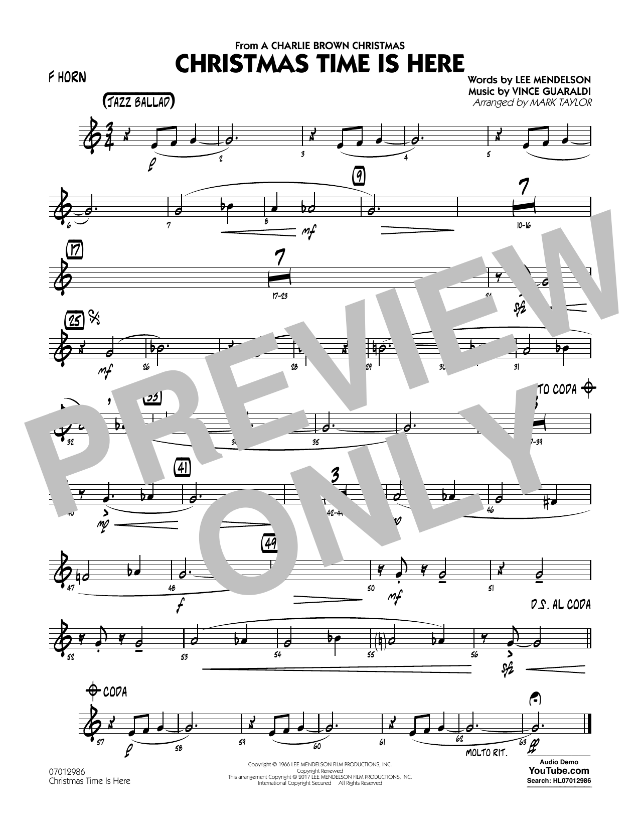 Christmas Time Is Here - F Horn Sheet Music