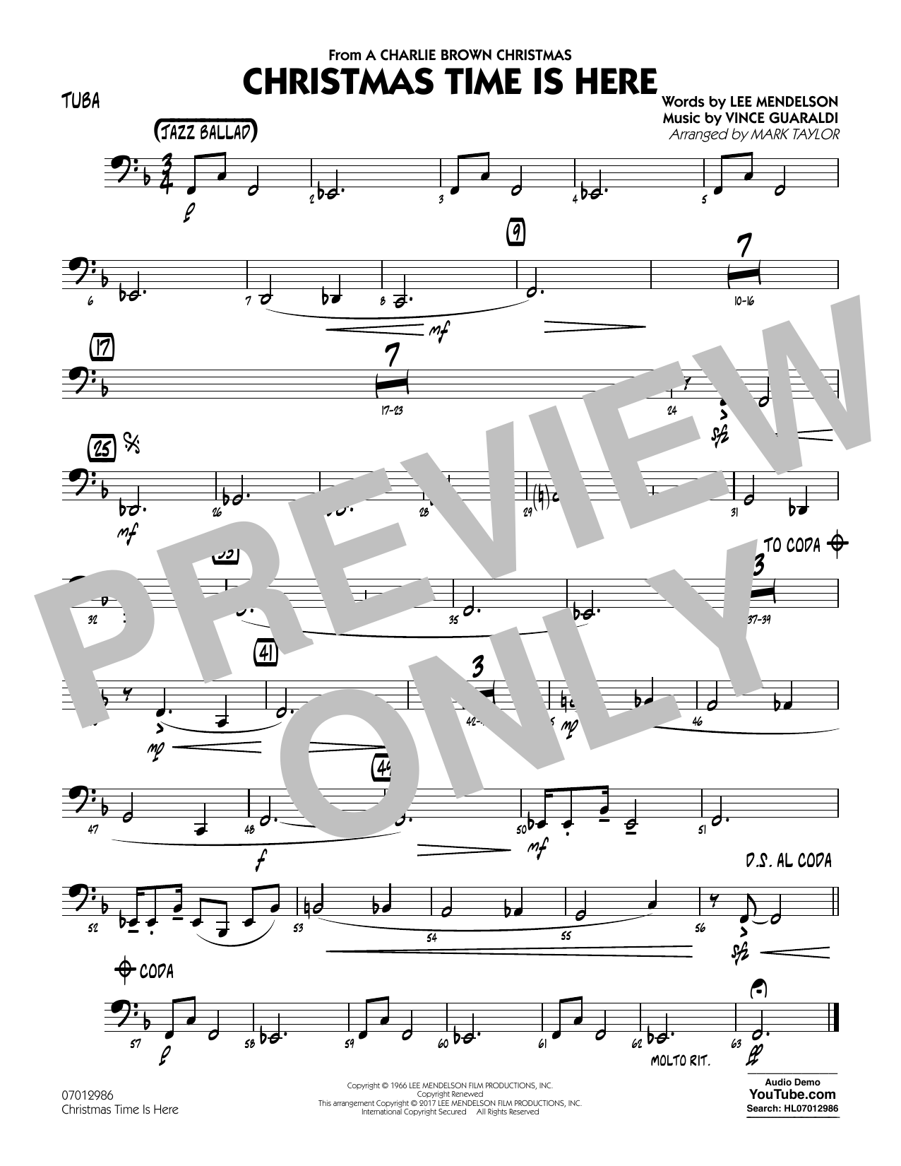 Christmas Time Is Here - Tuba Digitale Noten