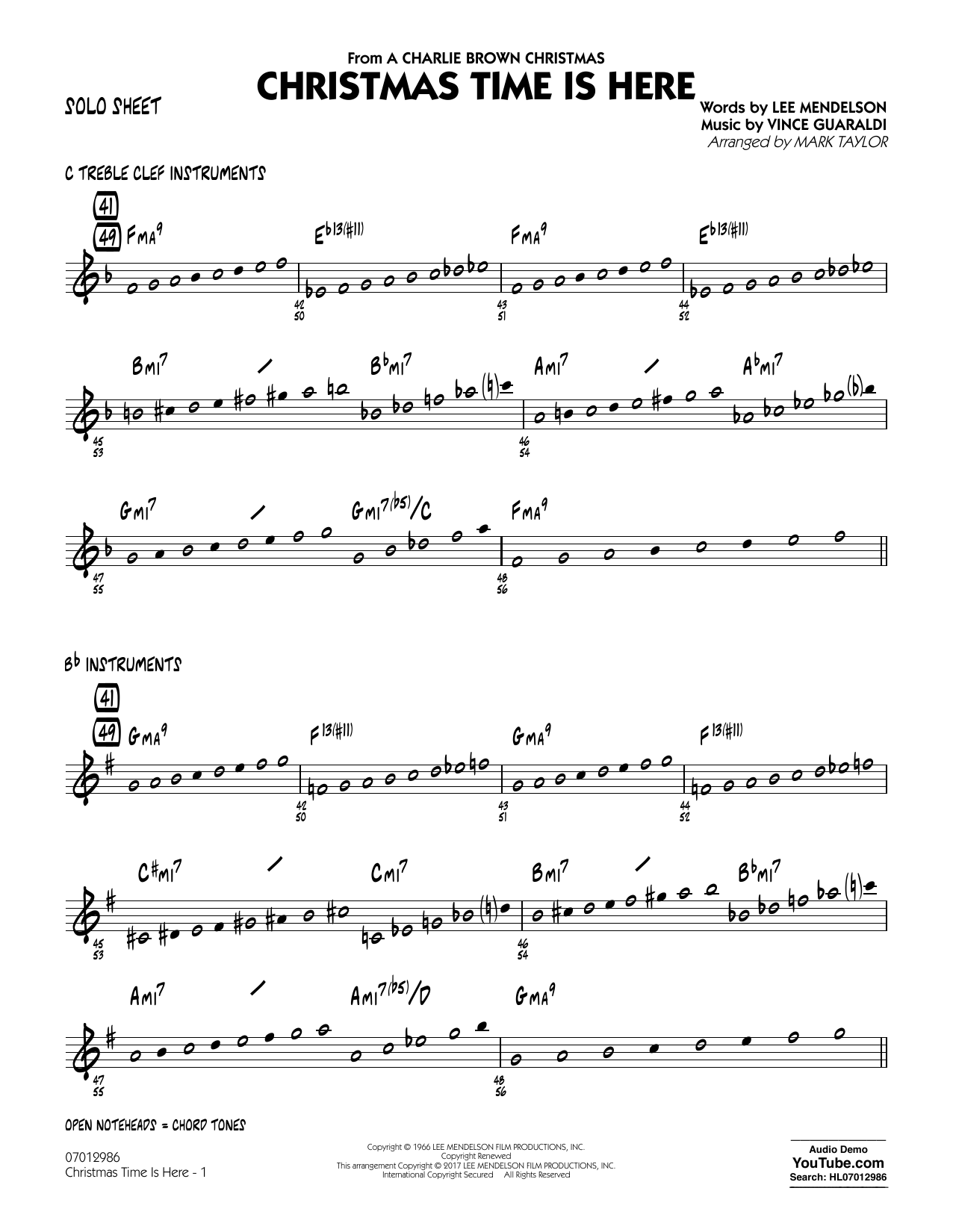 Christmas Time Is Here - Solo Sheet Sheet Music