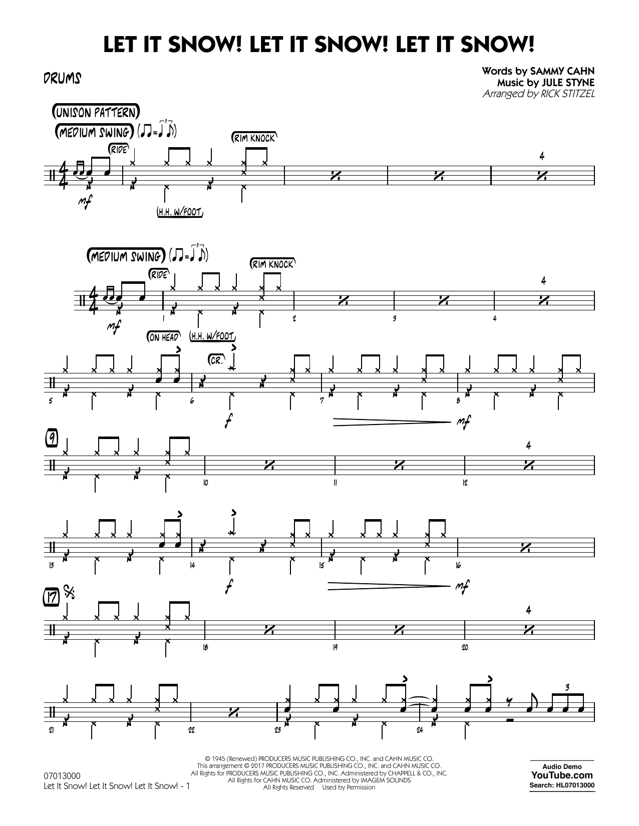 Let It Snow! Let It Snow! Let It Snow! - Drums Sheet Music