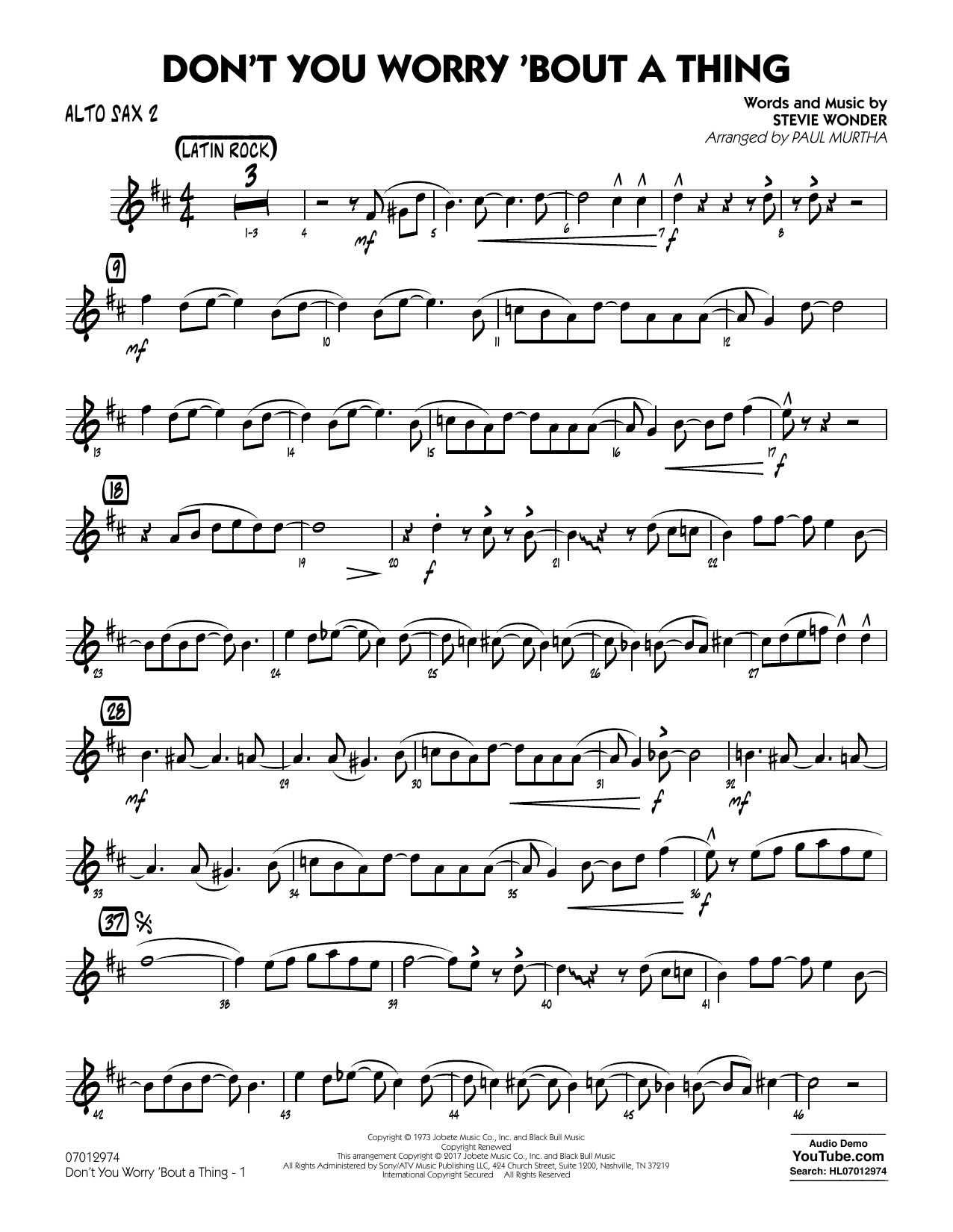 Don't You Worry 'Bout a Thing - Alto Sax 2 Sheet Music
