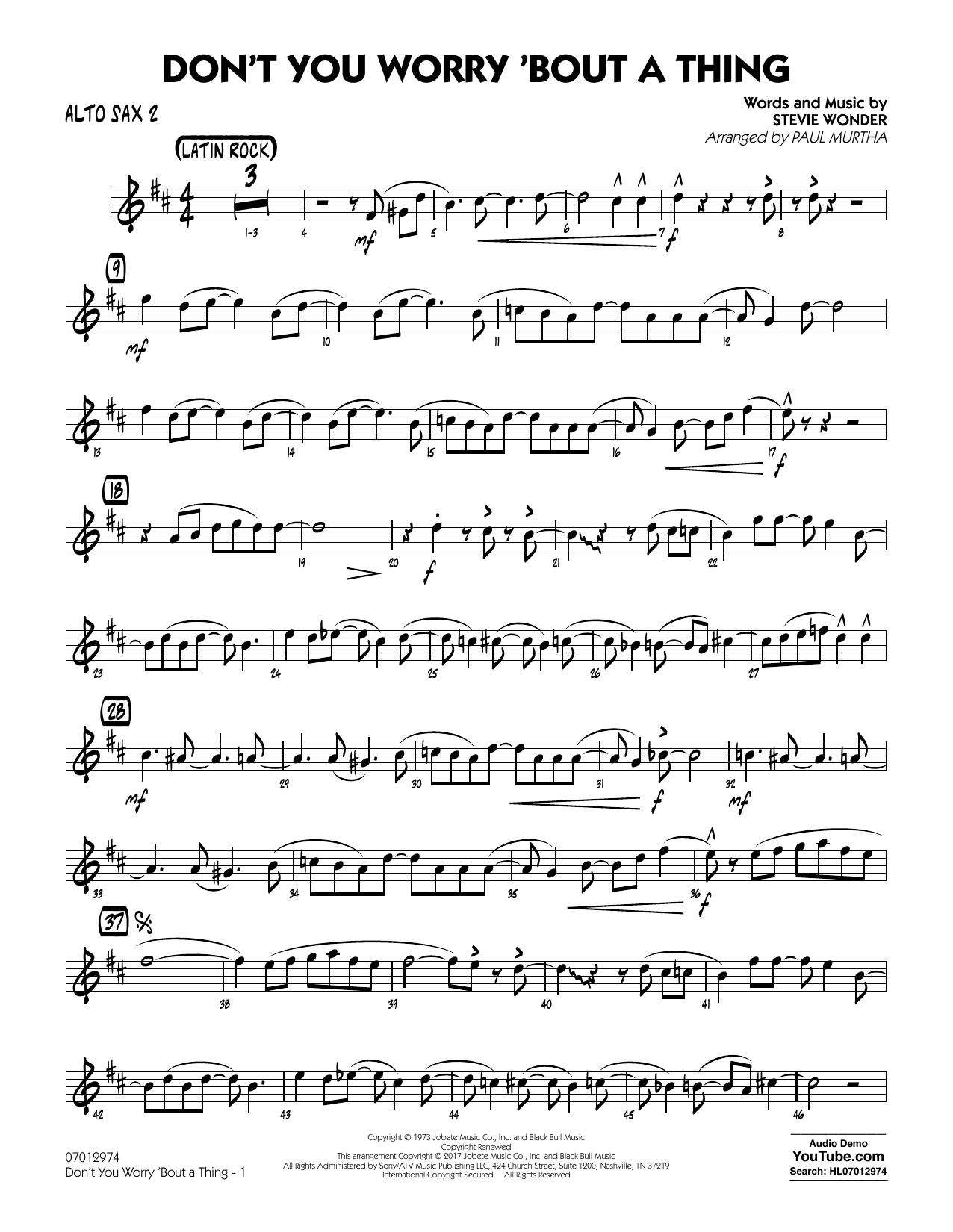 Don't You Worry 'Bout a Thing - Alto Sax 2 (Jazz Ensemble)