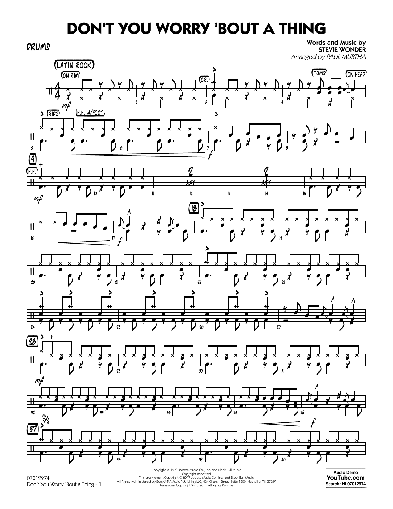 Don't You Worry 'Bout a Thing - Drums Sheet Music