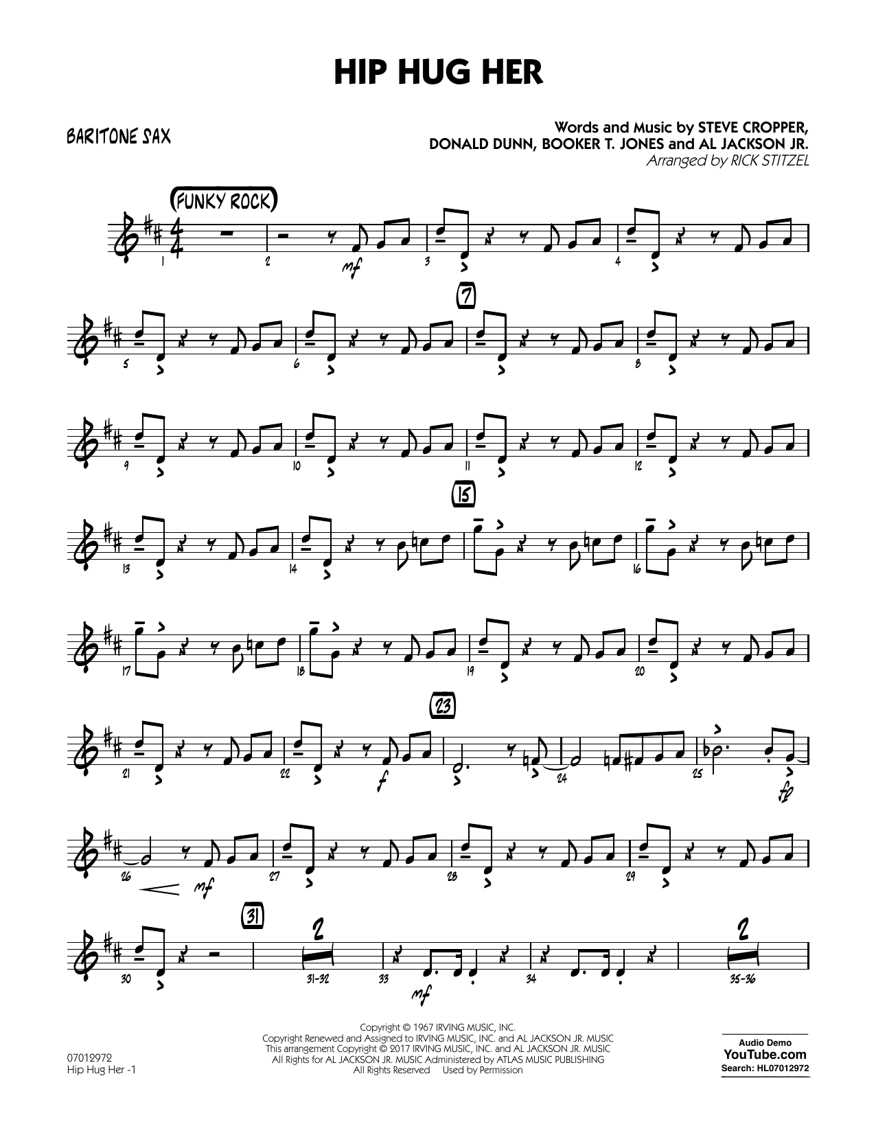 Hip Hug Her - Baritone Sax Sheet Music