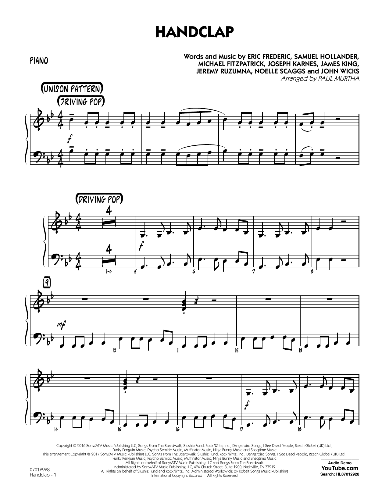 HandClap - Piano Sheet Music
