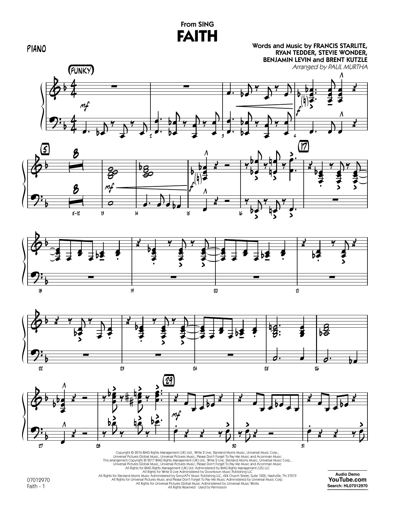 Faith (from Sing) - Piano Sheet Music