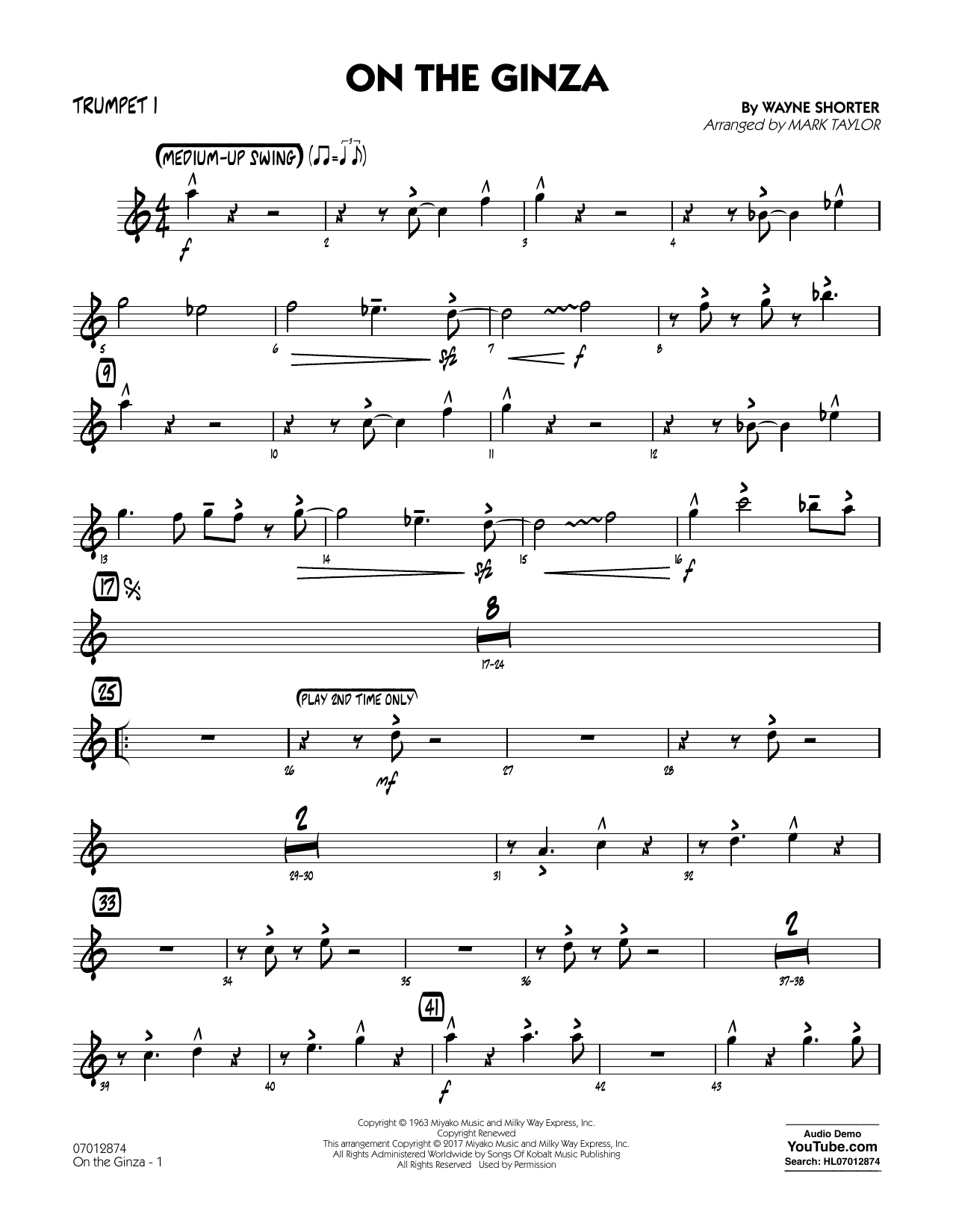 On The Ginza - Trumpet 1 Sheet Music