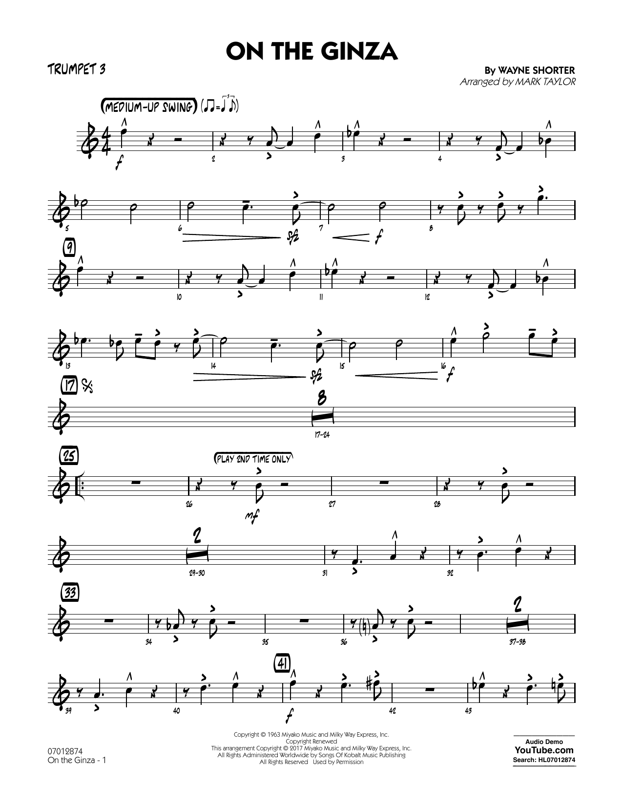 On The Ginza - Trumpet 3 Sheet Music