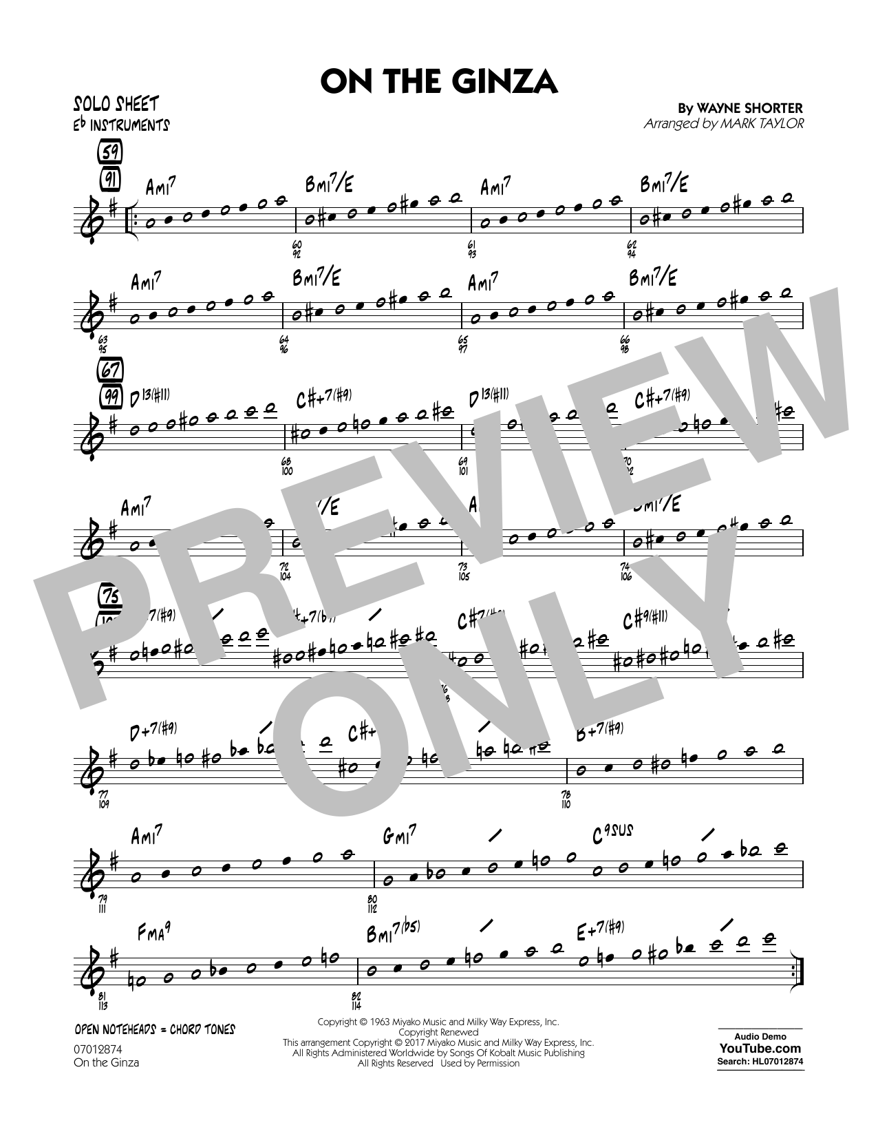 On The Ginza - Eb Solo Sheet Sheet Music