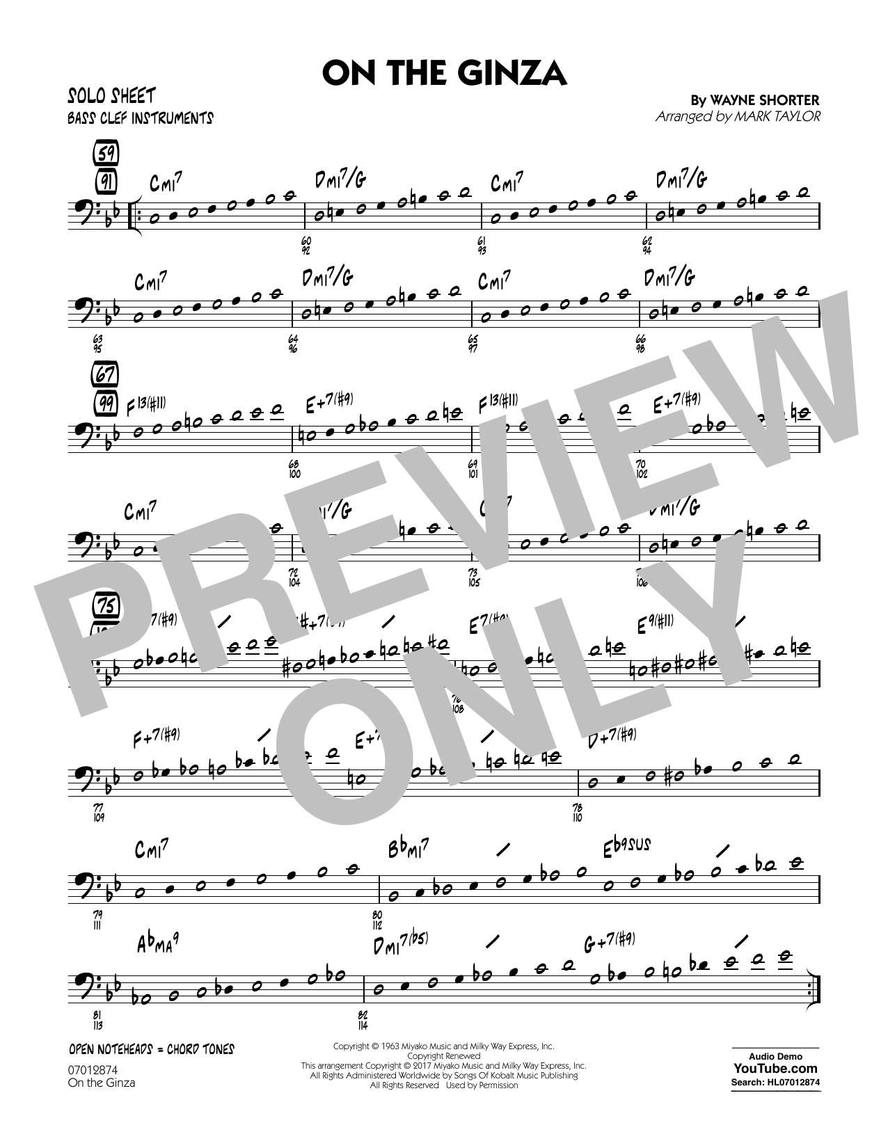 On The Ginza - Bass Clef Solo Sheet Sheet Music