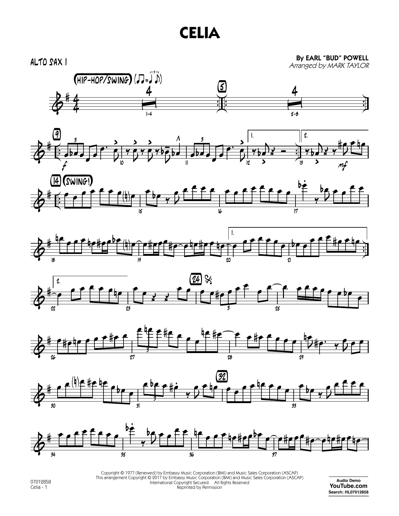 Celia - Alto Sax 1 Sheet Music