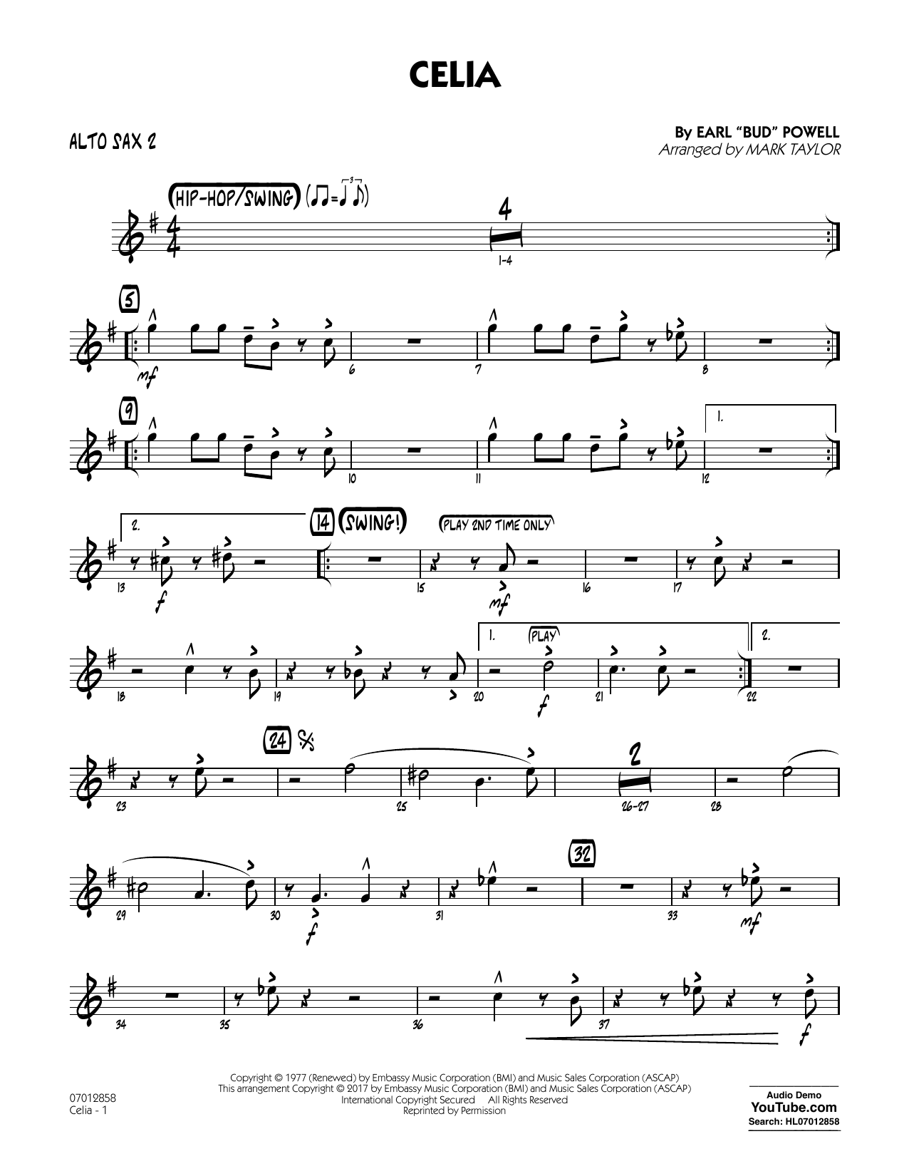 Celia - Alto Sax 2 Sheet Music