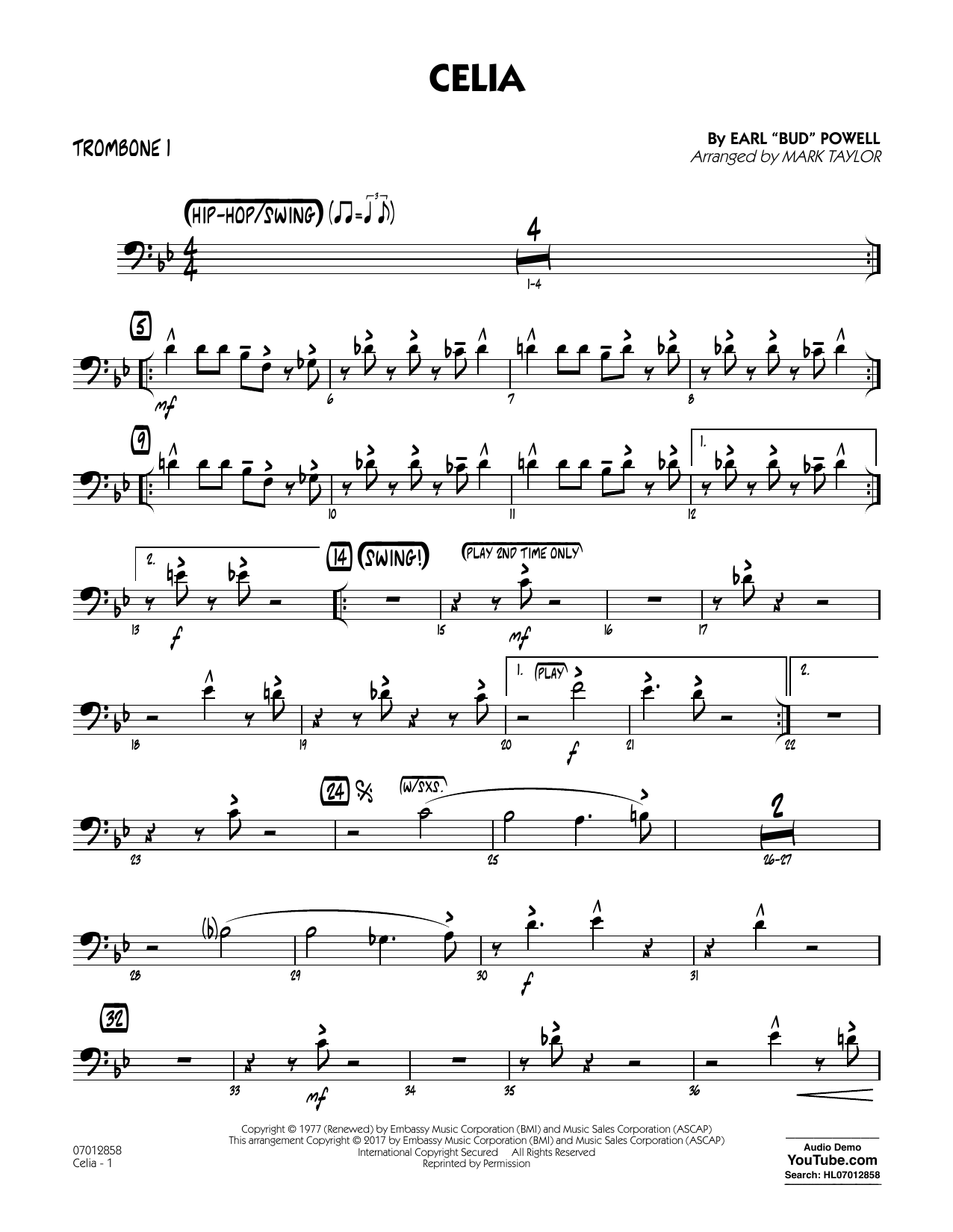 Celia - Trombone 1 Sheet Music