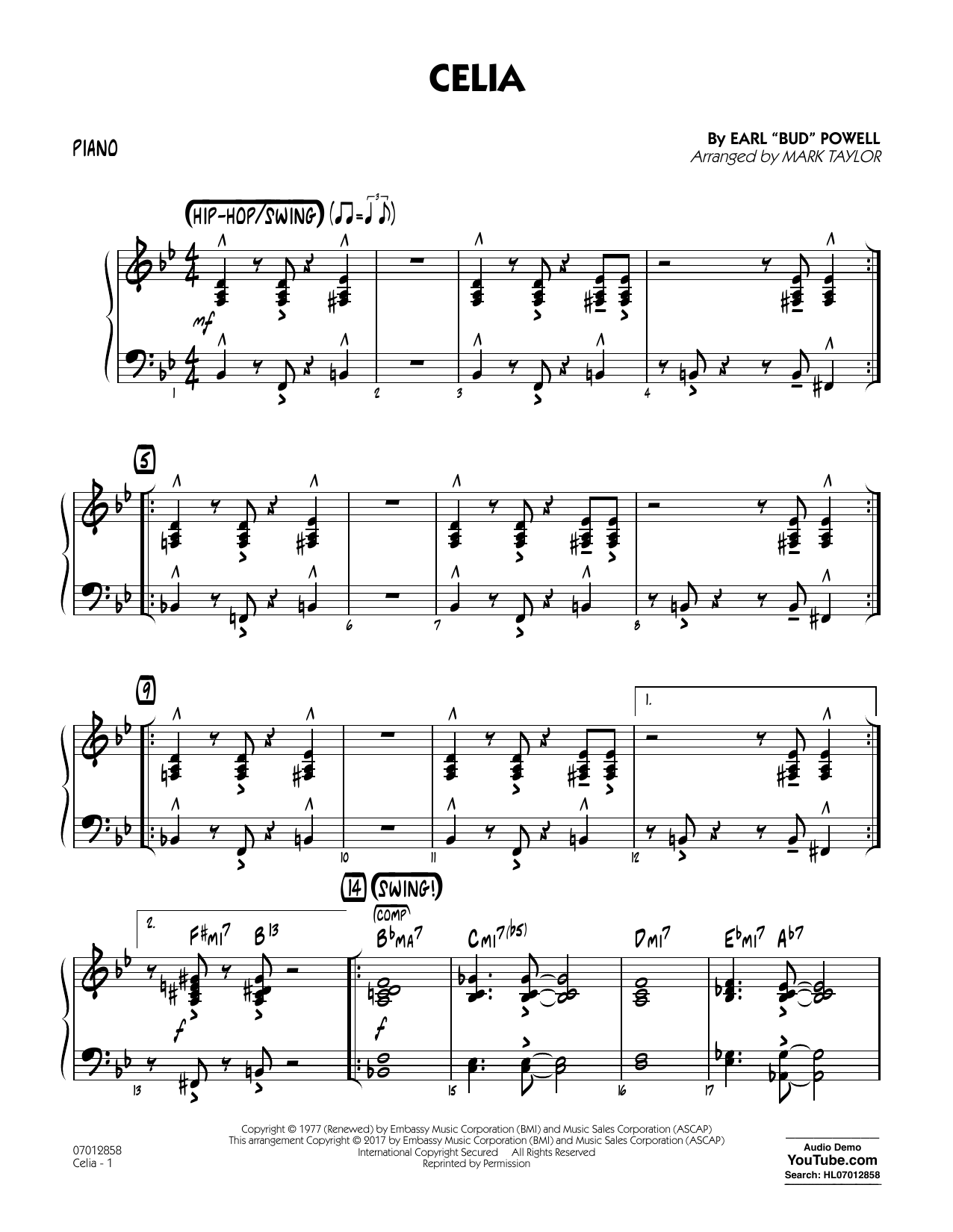 Celia - Piano Sheet Music