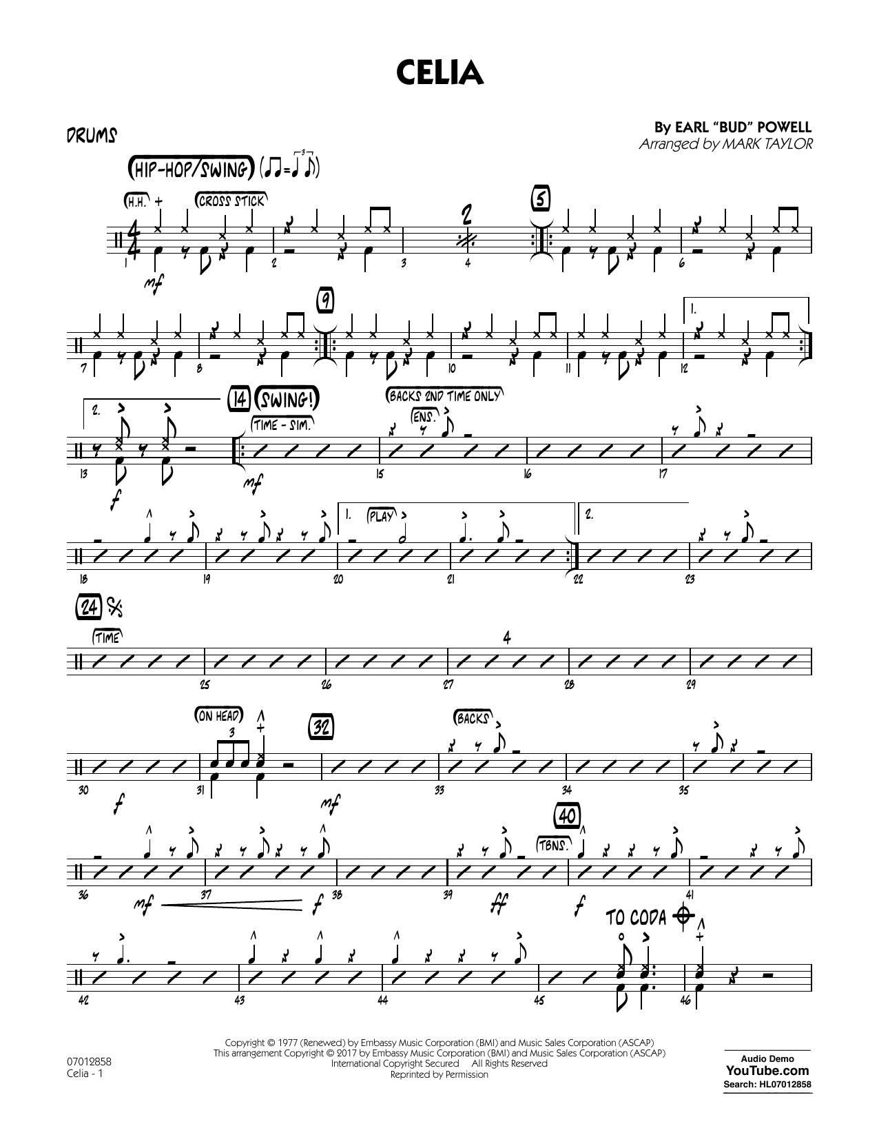 Celia - Drums Sheet Music