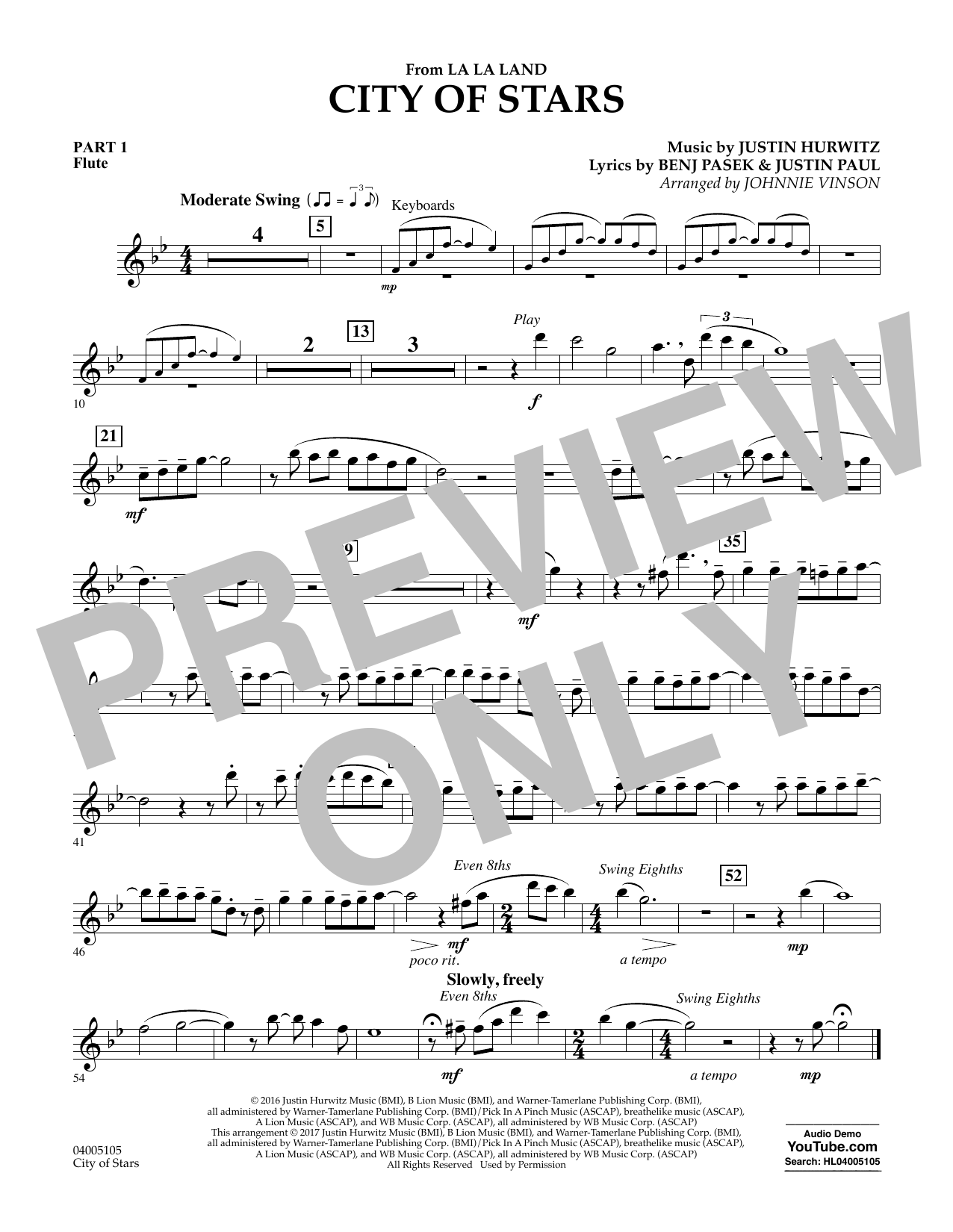 City of Stars (from La La Land) - Pt.1 - Flute Sheet Music