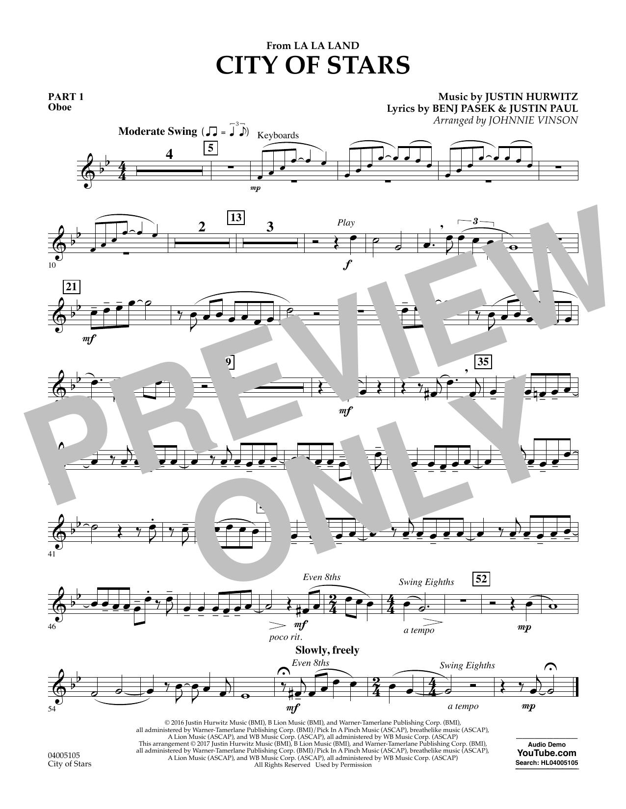City of Stars (from La La Land) - Pt.1 - Oboe Sheet Music