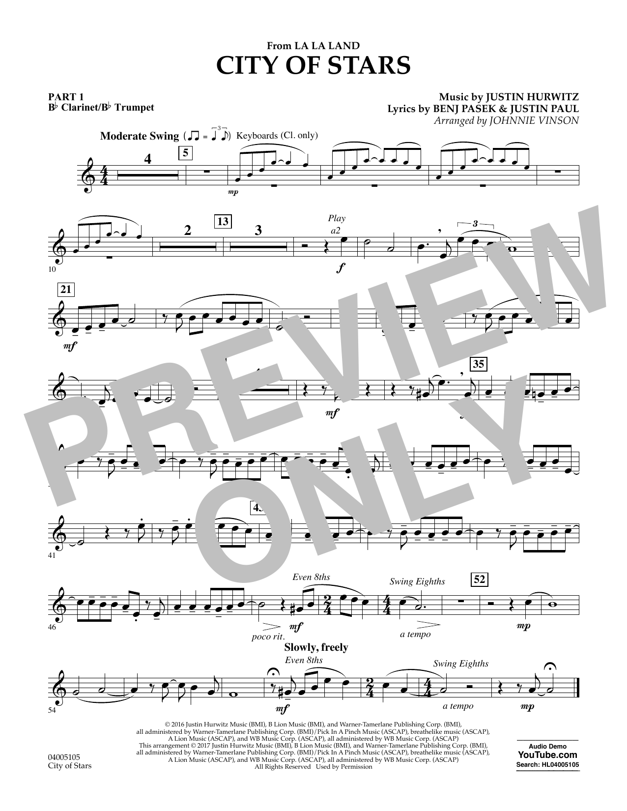 City of Stars (from La La Land) - Pt.1 - Bb Clarinet/Bb Trumpet Partituras Digitales