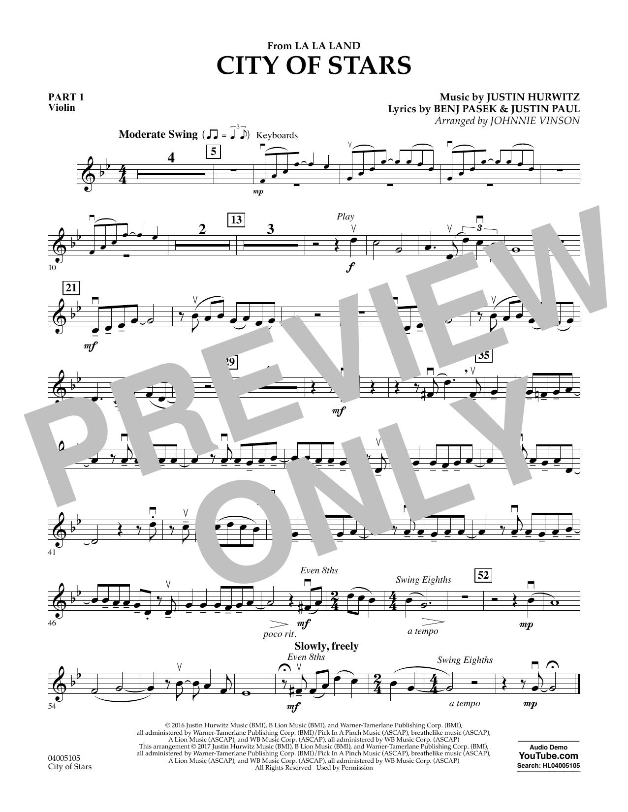 City of Stars (from La La Land) - Pt.1 - Violin Sheet Music