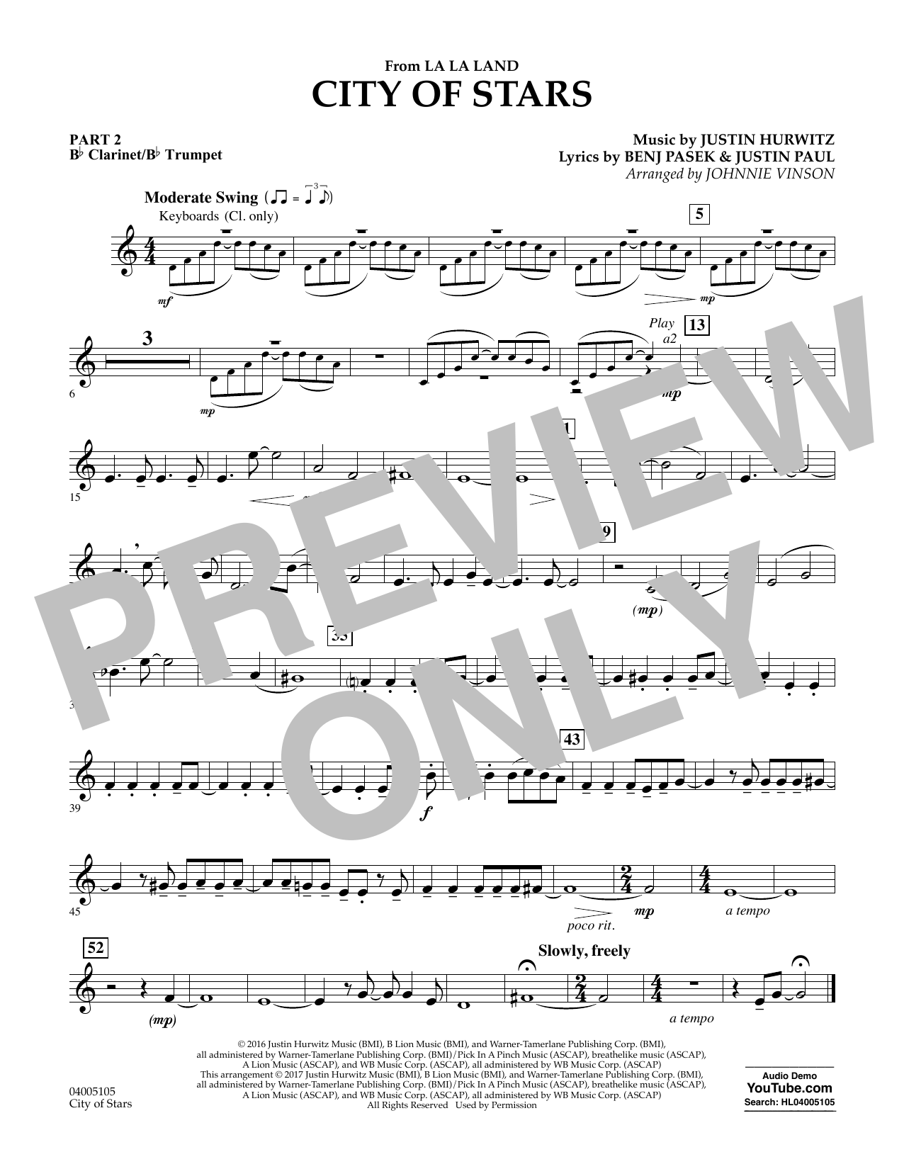 City of Stars (from La La Land) - Pt.2 - Bb Clarinet/Bb Trumpet Sheet Music