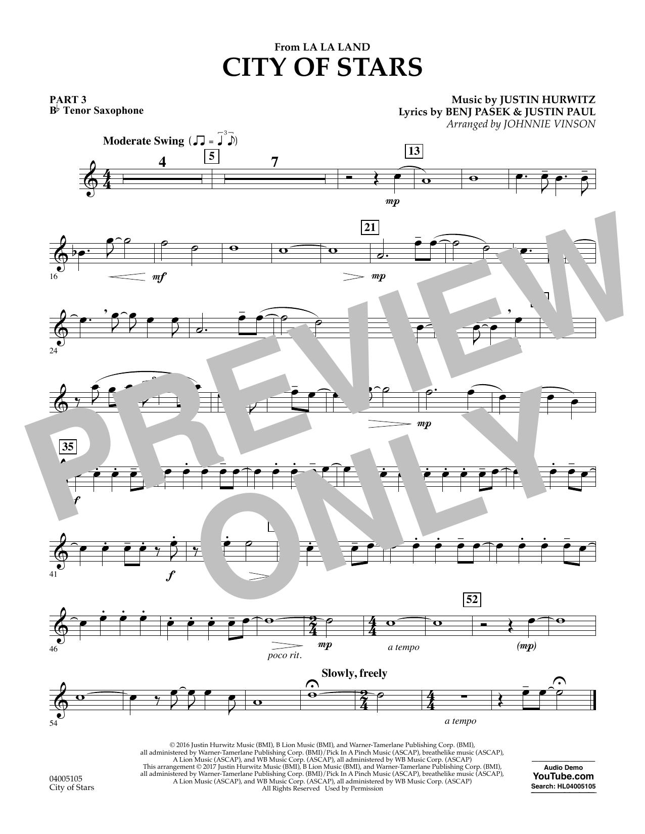 City of Stars (from La La Land) - Pt.3 - Bb Tenor Saxophone (Concert Band: Flex-Band)